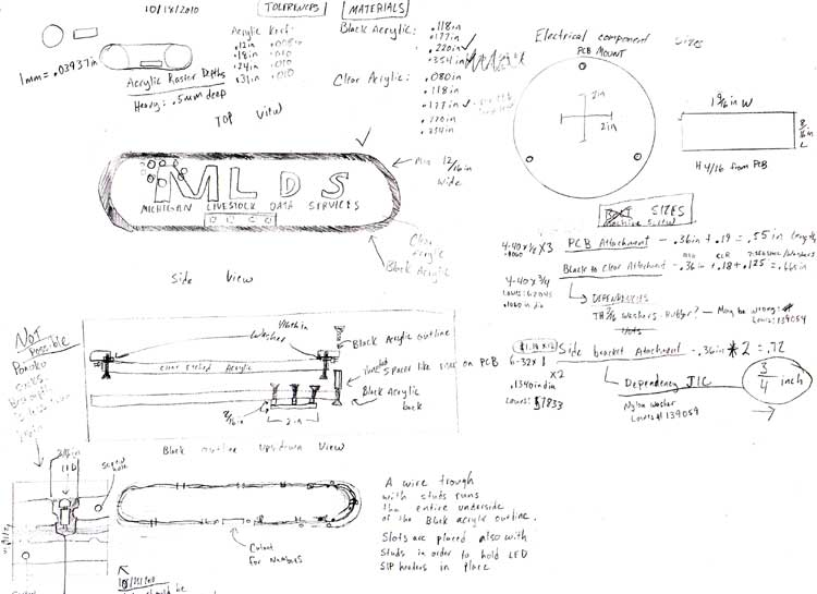 The front side of the main design and measurement sketch.