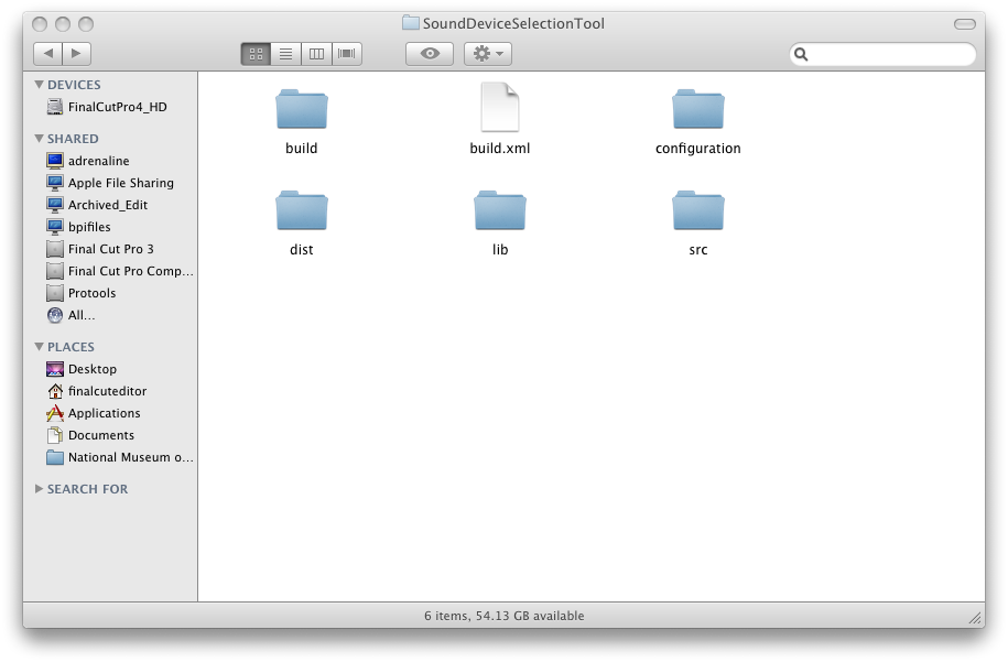 An example of using ant clean on OSX with all the folders present.
