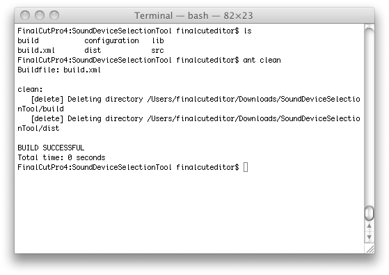 Showing command line output of ant clean in OSX.